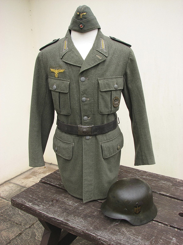 Kriegsmarine Coastal Artillery Tunic from Little Sark with Cap, Belt, Badge & Helmet
