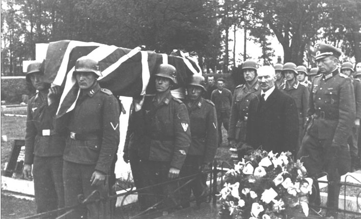 Full military honours were granted by the Luftwaffe at the funerals of R.A.F Sergeants Butlin and Holden who were shot down over Jersey. It is thought this was to try and pacify the local population.